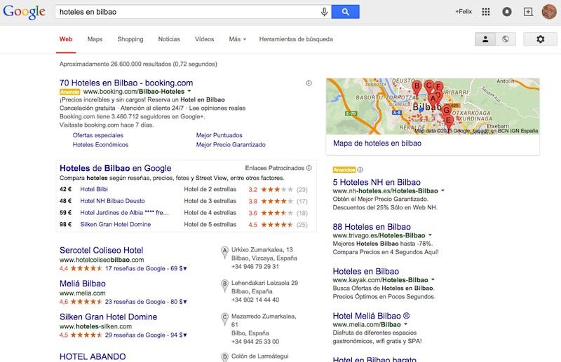 A la petición de hoteles en Google hay muchas zonas diferenciadas
