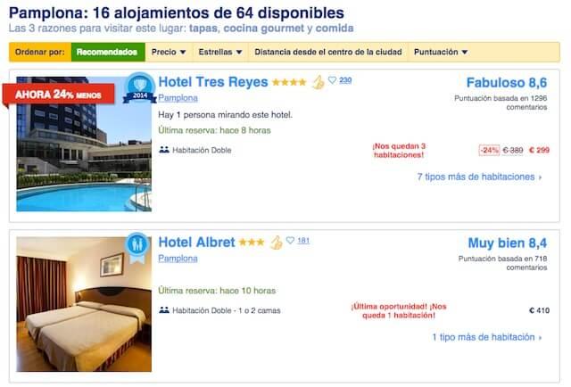 Dormir en un hotel en San Fermín en Pamplona 2015