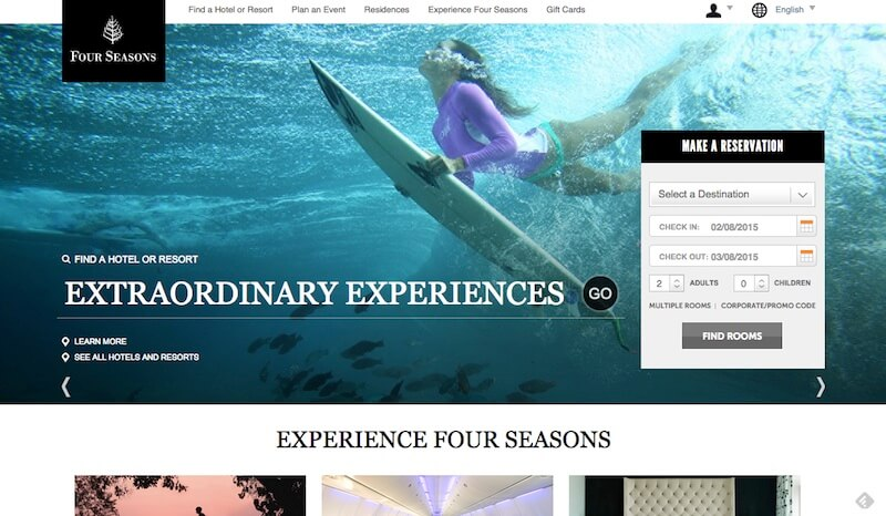 Four Seasons, la mejor web de hoteles de la tierra, probablemente