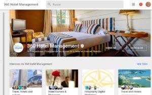 Pantallazo de la página de 360 Hotel Management en Google My Business.