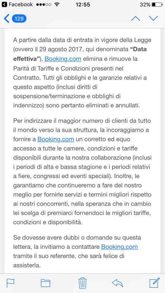 booking italia comunicado fin paridad